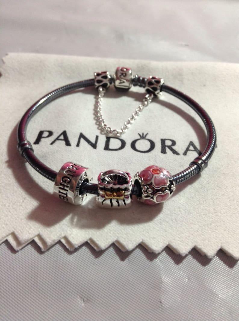 Perles Avec De Mixtes Et Authentique Pandora Métaux Sécurité Bracelet Filetées Chaîne CBredxo