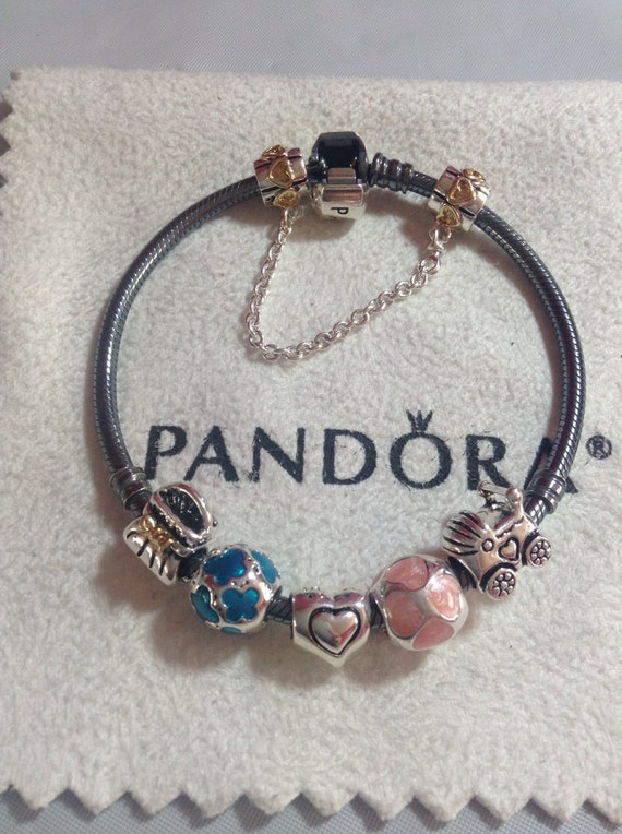 Authentic Pandora Bracelet With Threaded Mixed Metals