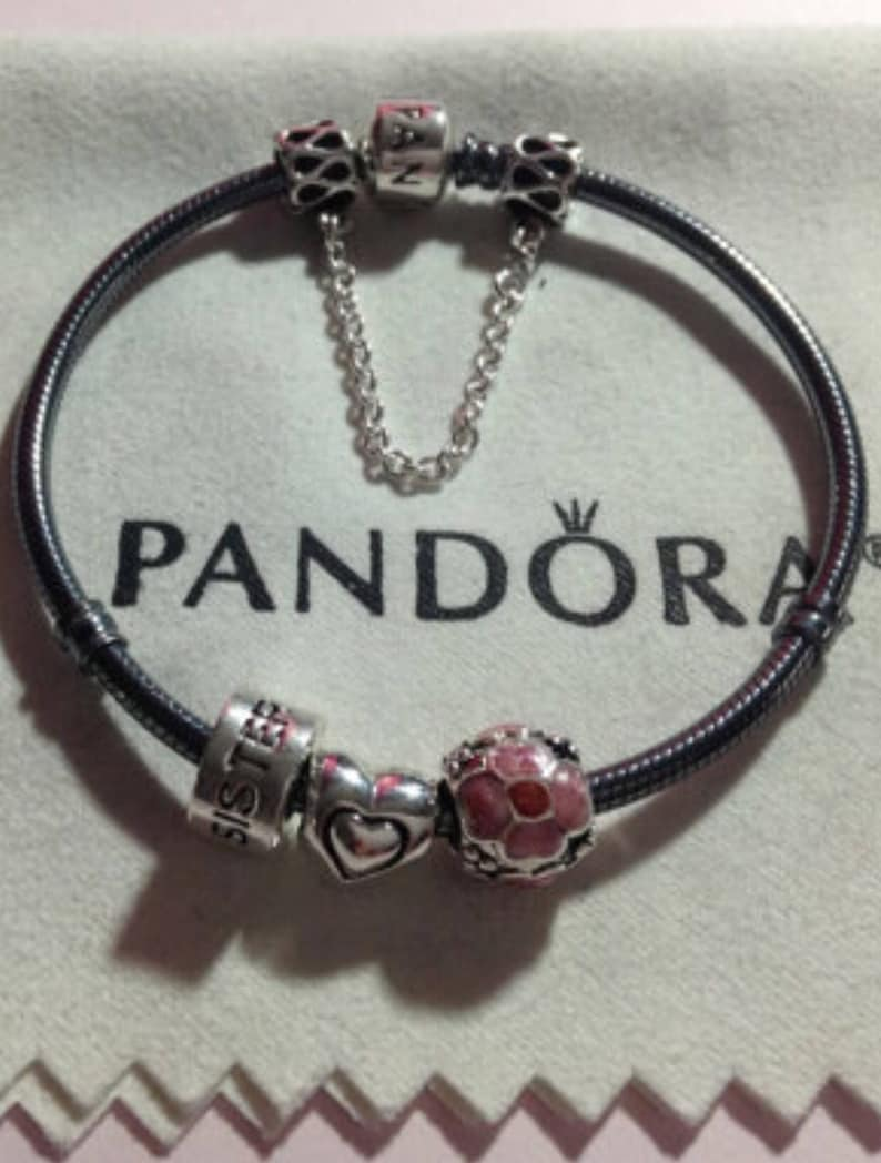 75942bf5e8b86 Authentic Pandora Oxidized Clasp BRACELET With Threaded Charms