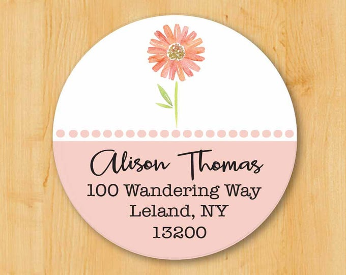 Return Address Sticker | Custom Stickers | Personalized stickers | Round Address Label | Pink Flower Label | Flower Sticker | Round Sticker