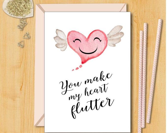 Love Card   You Make My Heart Flutter   Card for Husband   Boyfriend  Card   Card for Girlfriend