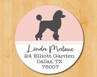 Poodle Return Address Sticker | Standard Poodle Stickers | Round Address Label | Poodle Dog Label | Dog Sticker | Gift for Dog Lover