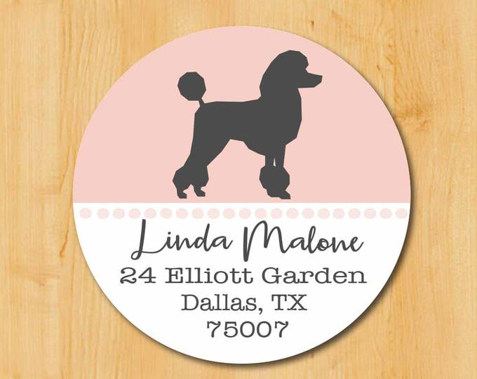 Poodle Return Address Sticker | Standard Poodle Stickers | Round Address Label | Poodle Dog Label | Dog Sticker | Gift for Dog Lover