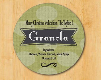 Food Gift Labels | Granola Labels | Hostess Gift Labels | Holiday Gift Labels | Christmas Gift Labels | Vanilla Sticker | Granola Recipe