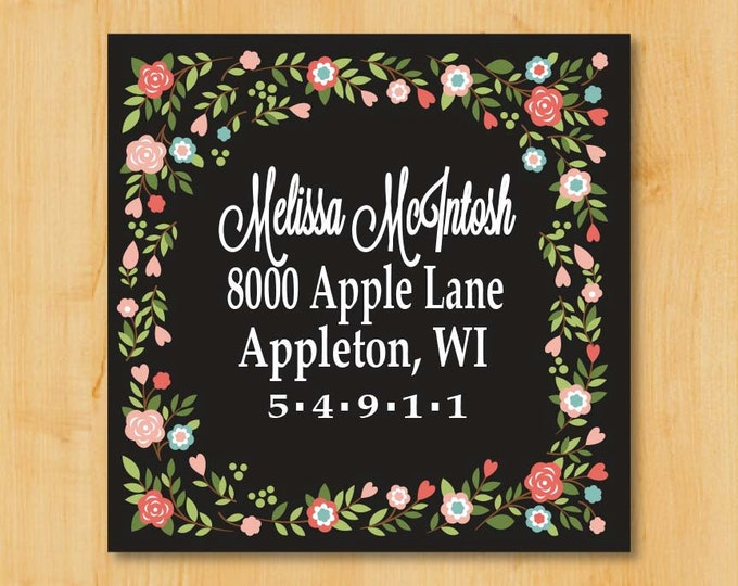 Address Labels 2 Inch Square | Gift Idea for her | Flower Labels | Gift ideas for women | Floral Label | Flower Art