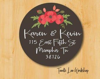 Return Address Label | Round Address Label  Red Flower label | Round address sticker