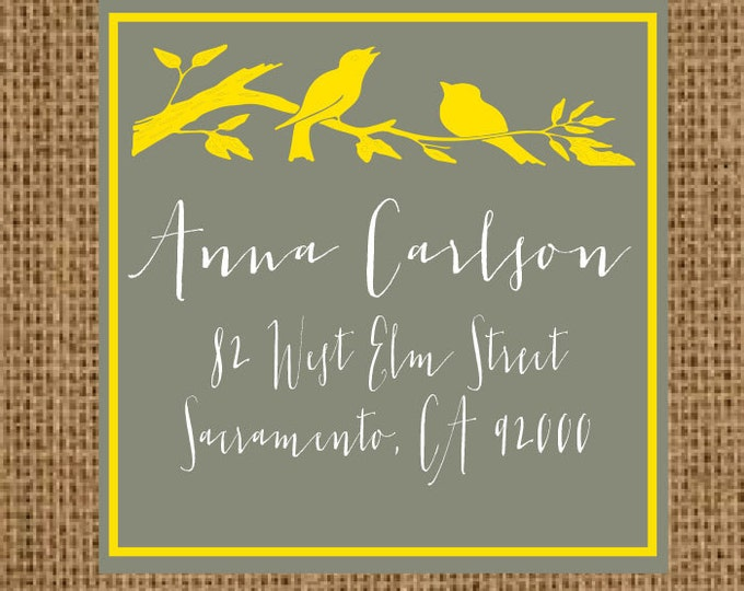 Return Address Labels | Address Labels 2 Inch Square | Golden Elegant Birds | Gift Idea for her