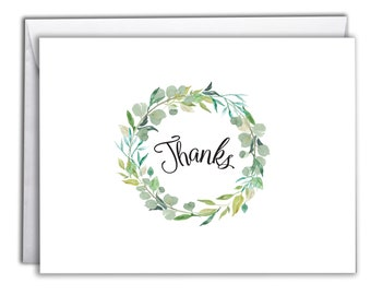 Thank You Note Cards | Boxed Set 10 Thank You Cards | Fresh Botanical Design