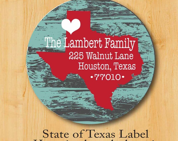 Texas Return Address Sticker | Personalized stickers | Round Address Label | State Label | Texas Address Label