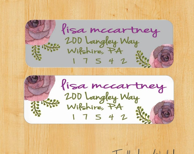Watercolor Flower Label | Return Address Label | Custom Address Label | Gift for her | Gift for Mom | gift for Sister