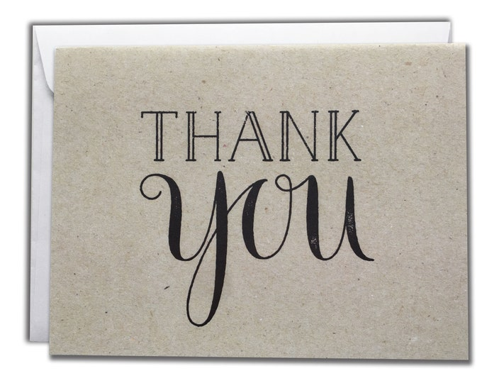 Thank You Note Cards | Brown Rustic Vintage Cards | Set of 10 Thanks Cards