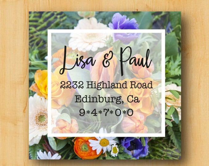Flower Labels | Address Labels 2 Inch Square | Gift Idea for her | Feminine Label | Gift Ideas for Women