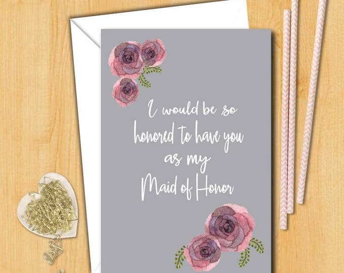 Bridesmaid card | Will you be my maid of honor Card | Wedding Card | Bridal card | Will you be my bridesmaid