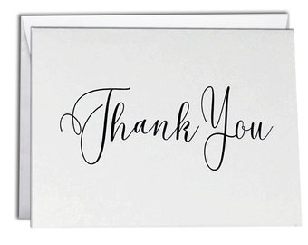 Thank You Note Cards | Boxed Set 10 Thank You Cards | Elegant Script Design