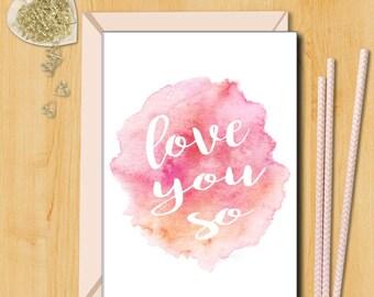 Love Card | Love you So Card | Card for Husband | Boyfriend Card | Card for Girlfriend |