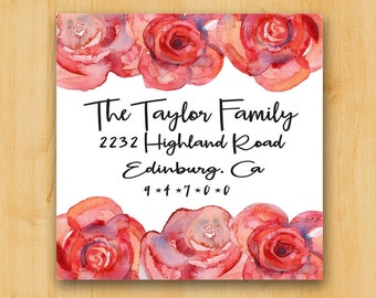 Return Address Labels | Address Labels 2 Inch Square | Lovely Rose Border  | Gift Idea for her