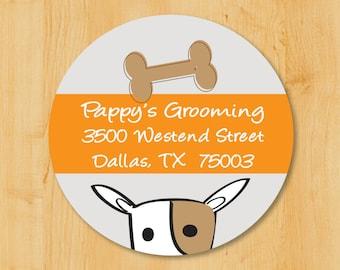 Dog Labels. Dog House. Return Address Label.  Return Address Stickers. 1.67 Inches Round Label