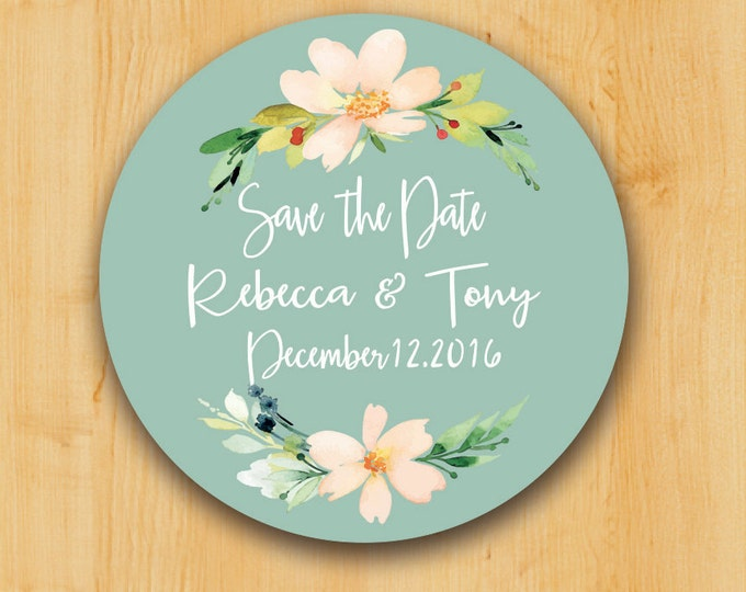 Save the Date Labels | Custom Stickers | Personalized stickers | Round Label | Flower Label | Thank You Label | Wedding Stickers