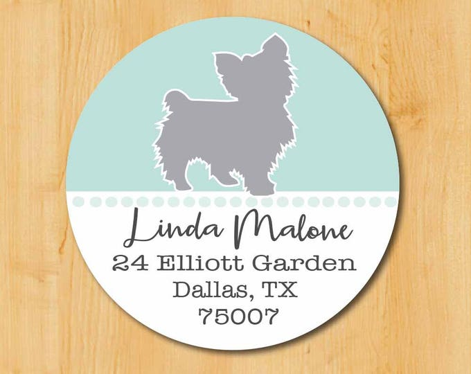 Yorkie Return Address Sticker | Yorkshire Terrier Stickers | Yorkie Rescue Label | Yorkie Dog Label | Dog Sticker | Round Sticker