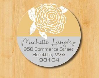 Return Address Sticker | Custom Stickers | Personalized Sticker | Round Address Label | Address Sticker | Doodle Flower