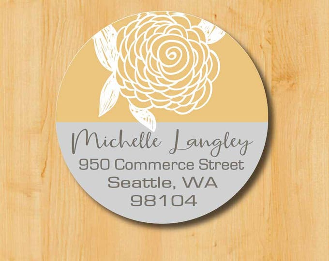 Return Address Sticker | Custom Stickers | Personalized Sticker | Round Address Label | Address Sticker | Doodle Flower