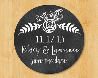 Save The Date | Wedding Invitation Labels | Bridal Shower Labels | Return Address Sticker | Custom Stickers | Round Address Label