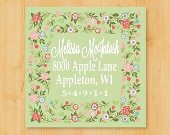 Return Address Labels | Address Labels 2 Inch Square | Lovely Floral Border  | Gift Idea for her