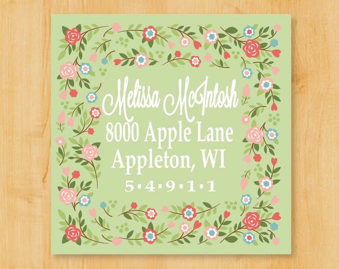 Return Address Labels | Address Labels 2 Inch Square | Lovely Floral Border  | Gift Idea for her