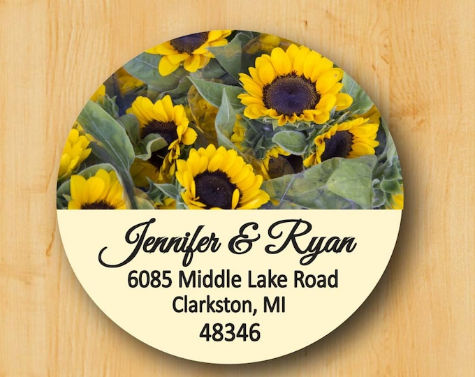 Sunflower Label | Return Address Sticker | Custom Stickers | Personalized stickers | Round Address Label | Gift for Her