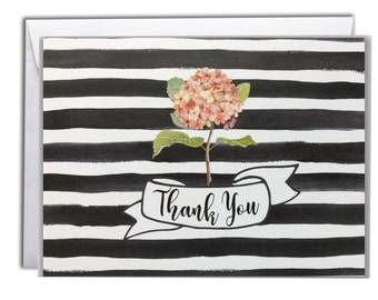 Thank You Note Cards | Boxed Set 10 Thank You Cards | Vintage Hydrangea Design