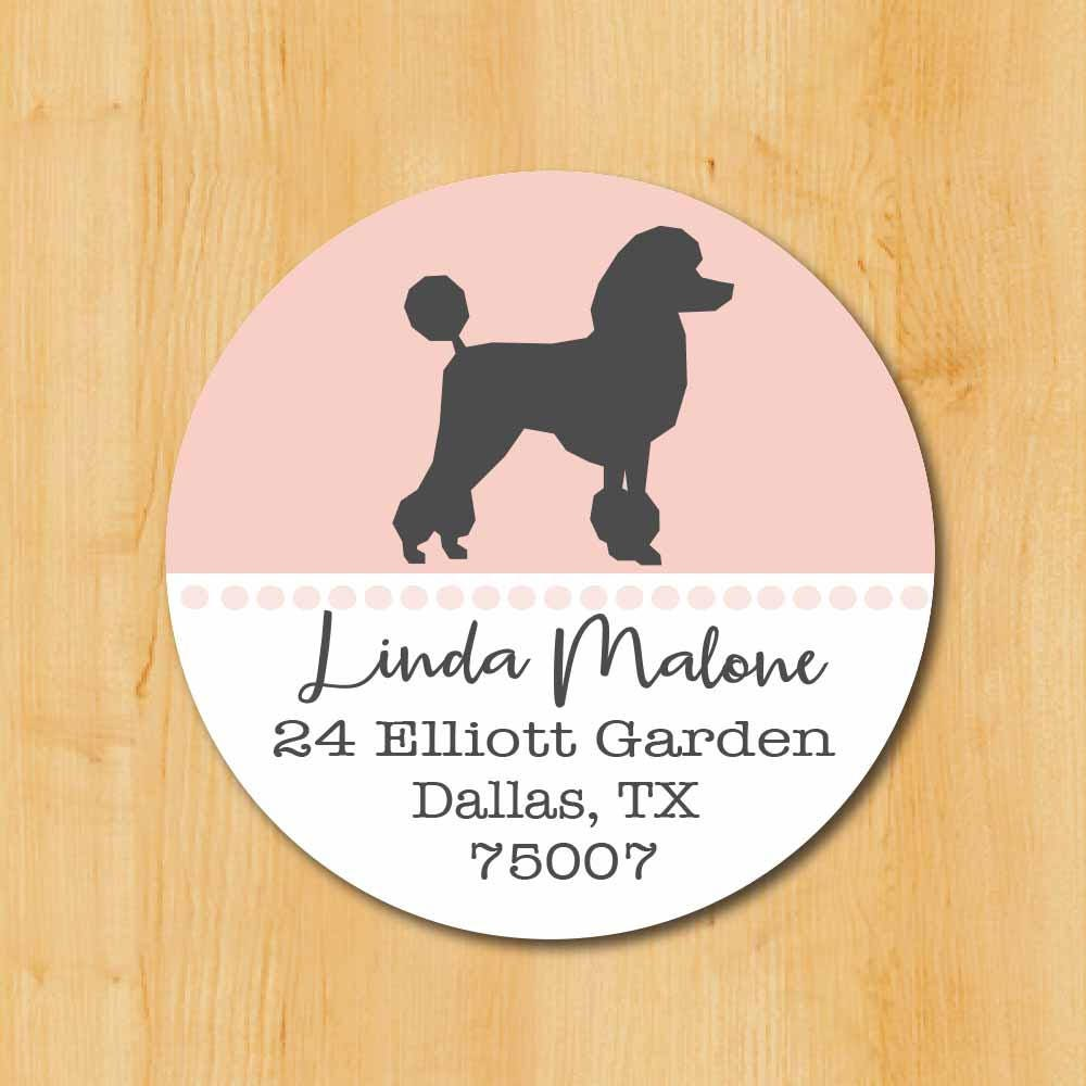 poodle return address sticker standard poodle stickers round