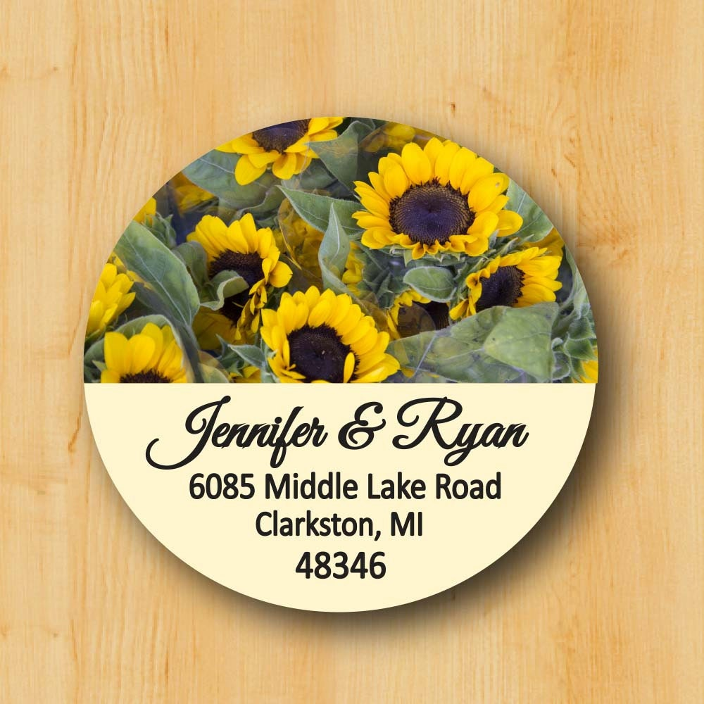 Sunflower label return address sticker custom stickers personalized stickers round address label gift for her