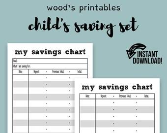 childs saving set pdf printable savings tracker savings etsy