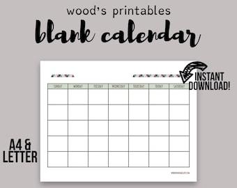 Blank Calendar PDF Printable Planner Wall 2016 Perpetual