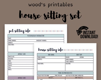 house sitting notebook pdf printable home binder household etsy