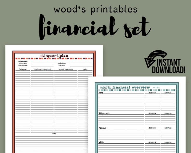 photograph relating to Bill Planner Printable referred to as Money Planner PDF Printable; Invoice Tracker, Monthly bill Planner, Invoice Organizer, Economical Planner, Fiscal Organizer, Household Binder, Finances Log