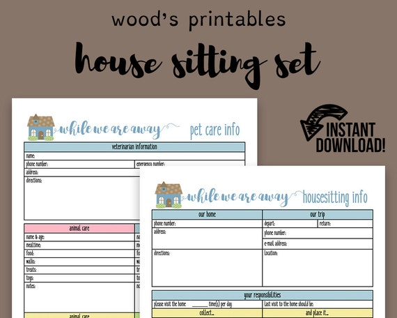 house sitting notebook pdf printable home binder household etsy
