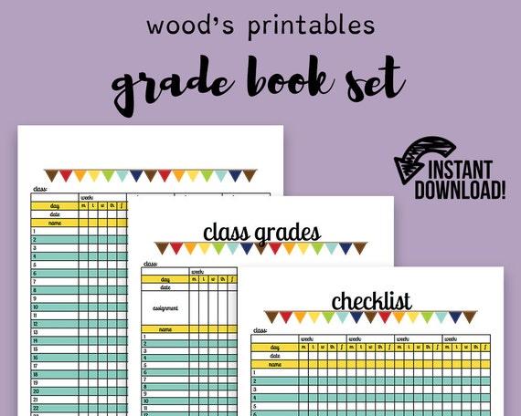 grade book pdf planner teaching planner teacher etsy
