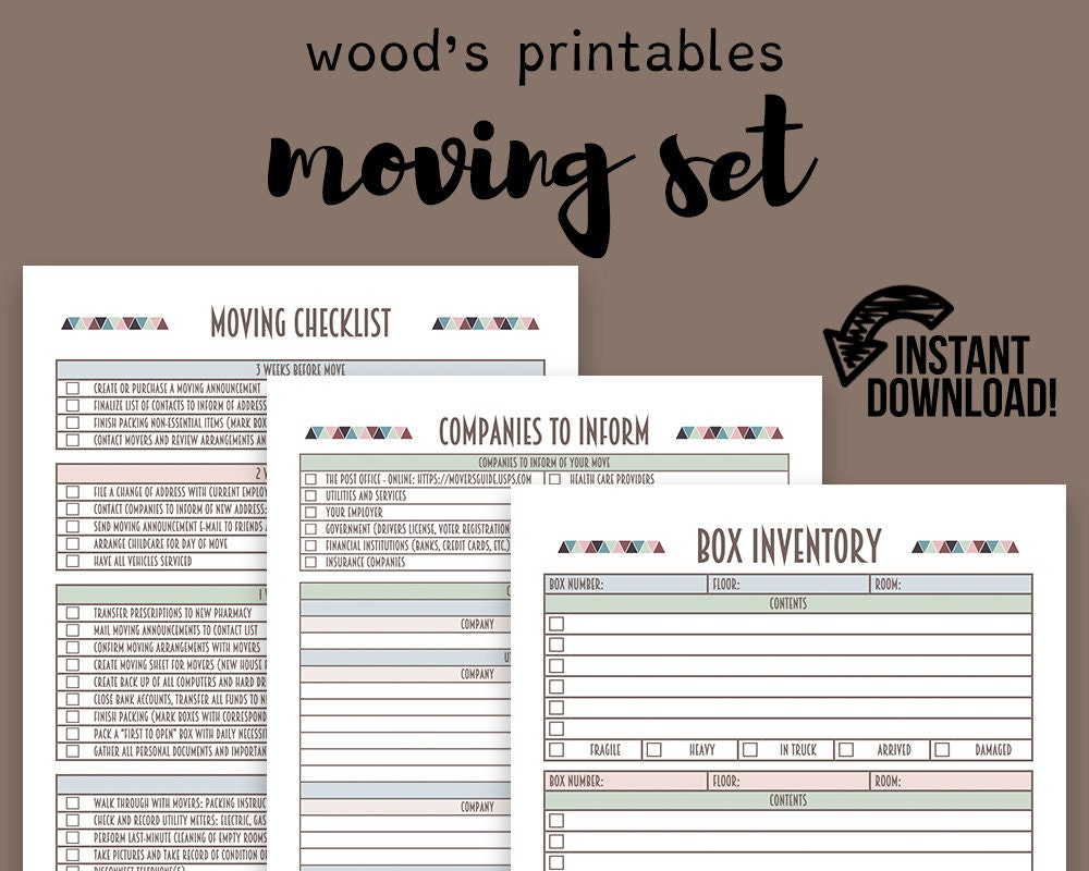moving planner set moving checklist moving away new home etsy