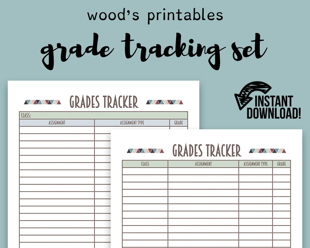 Grade Tracking PDF Printable Binder Printables Grade Book | Etsy
