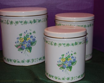Kitchen Canister Set, Vintage Aluminum Canisters, Ivy and Violets, Kitchen Storage, Kitchen Decor, Metal Can, Shabby Chic