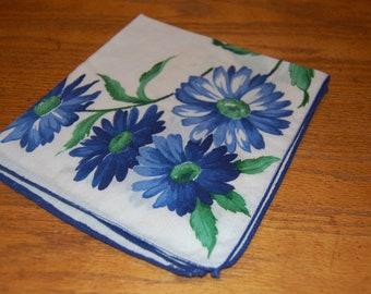 Vintage, Blue Flowered Handkerchief, Ladies Hankie, Flowered Hankie, Blue Daisy, Cotton Hankie, Mother's Gift