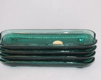 Vintage Spruce Corn on the Cob Tray, Corn Plates  (4), Tiara Glassware, pressed glass, Green Glass