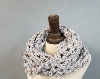 Chunky Cowl Textured Cold Weather Accessories Handmade Crochet Neckwarmer Womens Infinity Scarf Winter Fashion / the Alpine / in Grey Stones
