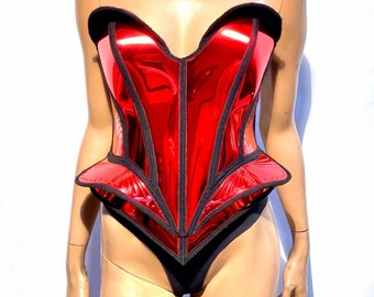 Single color embossed fantasy bustplate top. Female robot costume. Burlesque metallic corset frontplate.