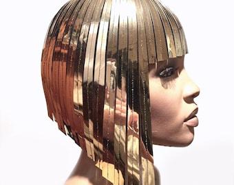 THE ORIGINAL Divamp Silver WIG ,Cleopatra metallic wig ,gold wig, hairdress  egyptian wig, bob wig ,hairpiece headpiece metal futuristic