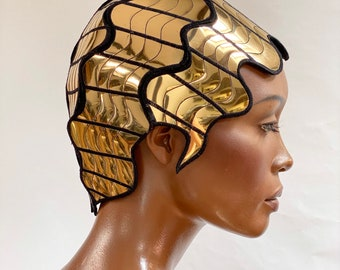 Finger wave Divamp Gold WIG ,Josephine Baker metallic wig, hairdress  Twenties wig ,hairpiece headpiece metal futuristic