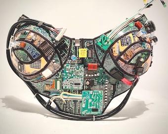 computer love bustier , corset top, futuristic robot top, computer circuits top, upcicle , recicle