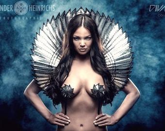 THE ORIGINAL Divamp goddess bolero stand up collar ,scifi robot futuristic stole shrug cybergoth wrap armor fetish egyptian costume