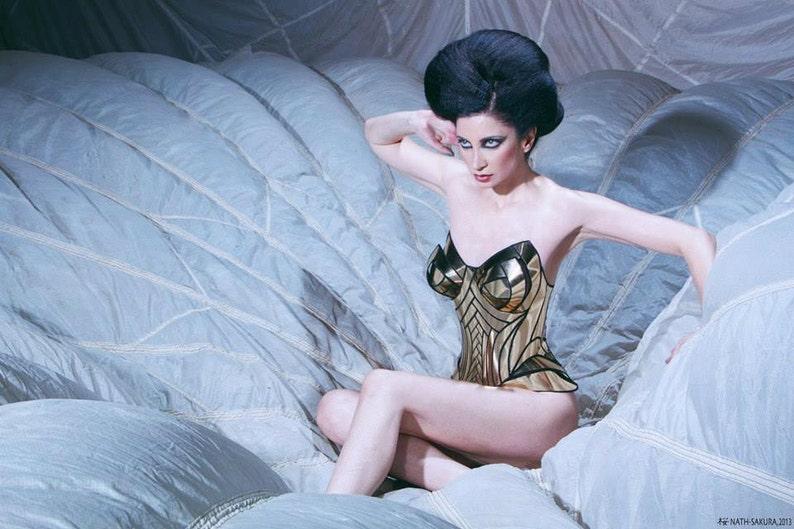 Golden armour corset , armor, sci fi costume, lady gaga , steampunk,  futuristic clothing metal corset metallic goddess egyptian burningman